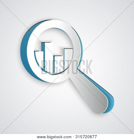Paper Cut Magnifying Glass And Data Analysis Icon Isolated On Grey Background. Paper Art Style. Vect