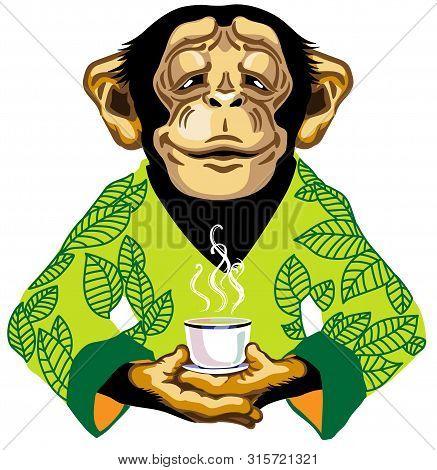 Cartoon Chimpanzee Great Ape Or Chimp Monkey Wearing Kimono Robe With Green Tea Leaves And Holding A