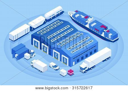 Isometric Industrial Warehouse Loading Dock. Truck With Semi Trailers Load Merchandise. Import Expor