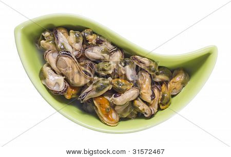 Pickled Isolated Sea Clams Mussels