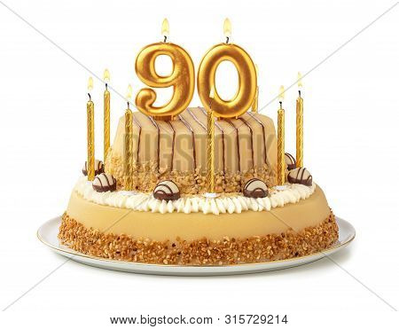Festive Cake With Golden Candles - Number 90
