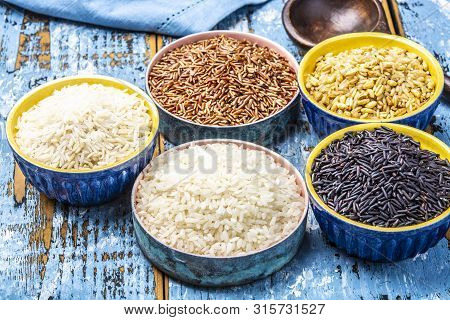 Different Types Of Rice, White Basmati, Jasmine, Arborio, Brown And Black, Rice Collection