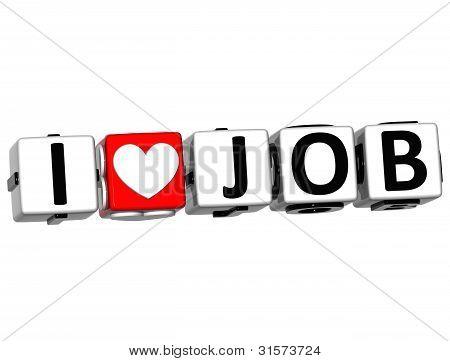 3D I Love Job Crossword Block text on white background poster