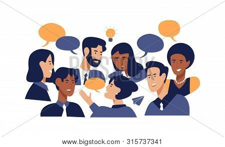 Diverse Office People Talking At Brainstorming Business Meeting. Professional Multi Ethnic Work Coll