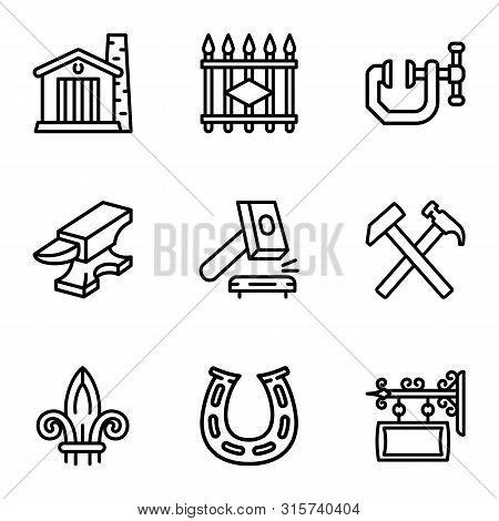Blacksmith Equipment Icon Set. Outline Set Of 9 Blacksmith Equipment Vector Icons For Web Design Iso