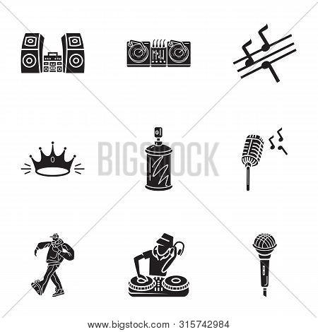 Dance Hiphop Icon Set. Simple Set Of 9 Dance Hiphop Vector Icons For Web Design Isolated On White Ba