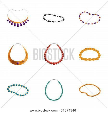 Colorful Necklace Icon Set. Cartoon Set Of 9 Colorful Necklace Vector Icons For Web Design Isolated
