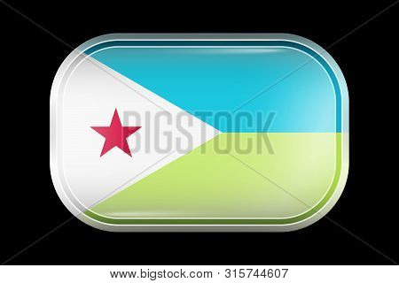 Flag Of Djibouti. Matted Vector Icon. Vector Rectangular Shape