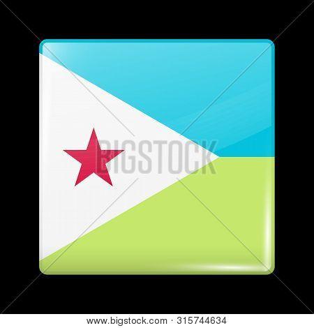 Flag Of Djibouti. Glossy Icon Square Shape. Vector