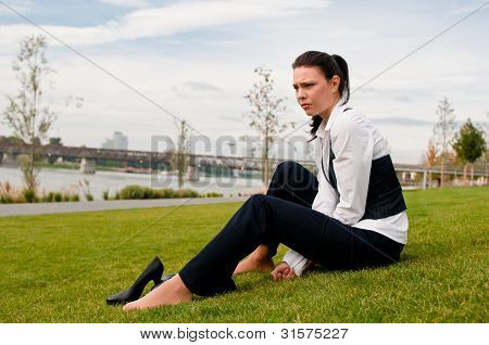 Depressed young business woman