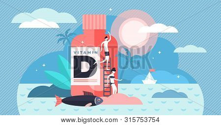 Vitamin D Vector Illustration. Flat Tiny Source Collection Persons Concept. Healthy Fatty Fish, Medi