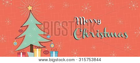 Merry Christmas Web Banner Illustration Of Retro Style Pine Tree, Gifts And Vintage Mid Century Deco