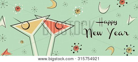 Happy New Year Web Banner Illustration. Retro Mid Century Style Background With Vintage Party Drink