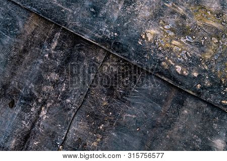Dark Grunge Background With Footprints And Dirt Particles, Top View Distressed Textrue