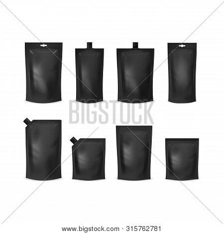 Realistic Detailed 3d Various Black Blank Doypack Template Mockup Set. Vector