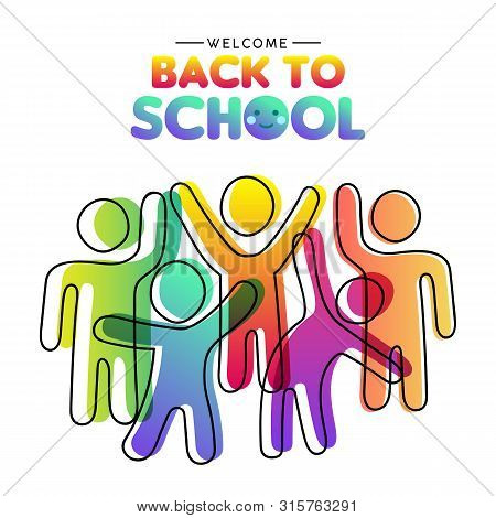 Welcome Back To School Card Illustration Of Diverse Colorful Student Group Together. Children Classm