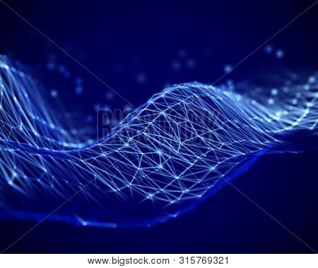 Big Data Abstract Visualization: Waves On Surface Of The Sea Of Information. Digital Data Or Cybersp