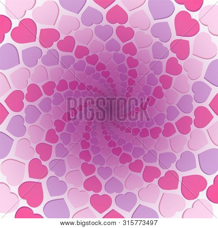 Hearts Spiral Background. Pink, Purple And Rosy Love Pattern In A Hypnotizing Tunnel. Symbolic For R