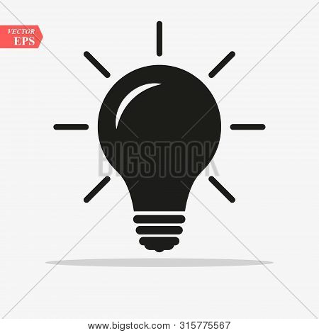 Bulb Light Vector Icon. Lighting Electric Lamp. Electricity, Shine. Light Bulb Icon Vector, Isolated