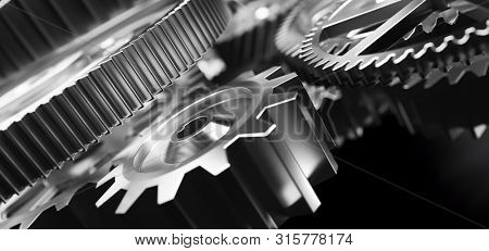 Gears and cogs mechanism. Industrial machinery. Close-up, detailed. 3D illustration