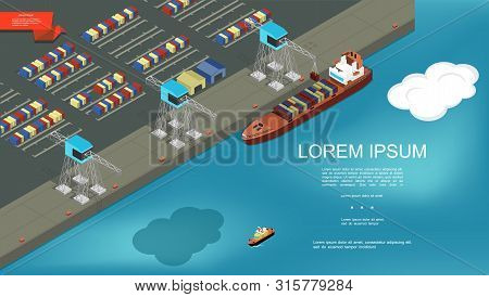 International Shipping Colorful Template With Loading Of Containers On Cargo Ship At Seaport Vector