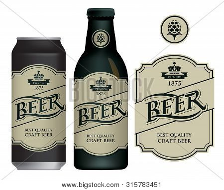 Vector Label For Craft Beer In Retro Style On Light Background, Decorated By Crown And Ribbon. Sampl