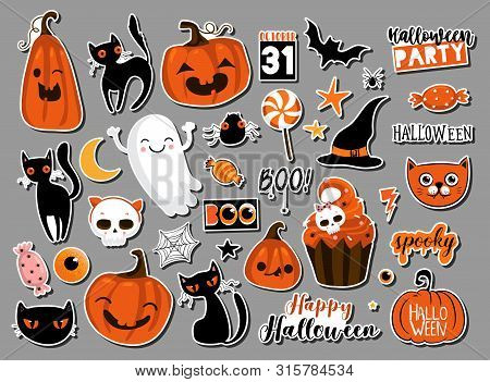 Set Of Halloweeen Stickers, Badges, Scrapbooking Elements. Happy Halloween Set. Halloween Party, Vec
