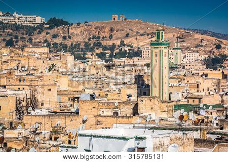 Fes, Morocco - October 16, 2013. Panoramic View On Old City With Medina