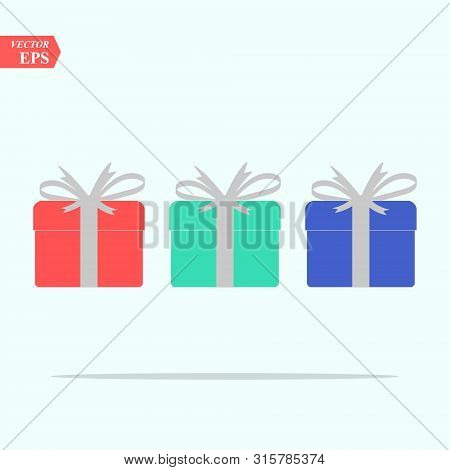Illustration Of Gift Box Icon O Background. Christmas Gift Icon Illustration Vector Symbol. Present