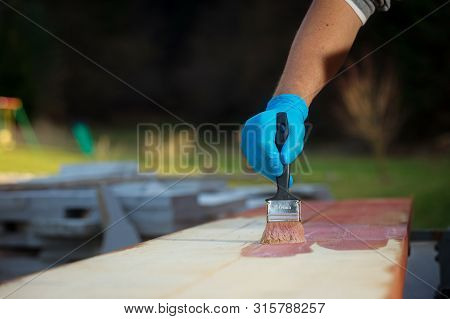 Gloved Hand Applying Wood Stain On Wooden Sufrace