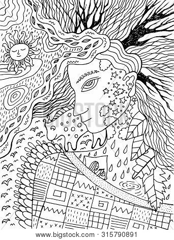 Cute And Cozy Illustration With Autumn Spirit. Surreal Lineout Artwork. Fairy Tale Coloring Page For