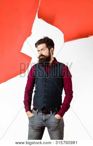 Handsome Stylish Bearded Man. Men's Style. Elegant Young Man. Fashion, Style, Beauty. Trendy Male In
