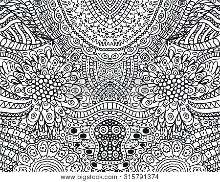 Cartoonish Hippie Ornament - Coloring Page For Adults. Black And White Doodle Background. Vector Ill