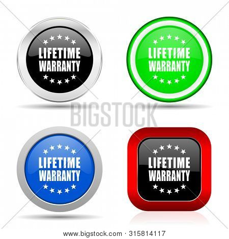 Lifetime warranty red, blue, green and black web glossy icon set in 4 options