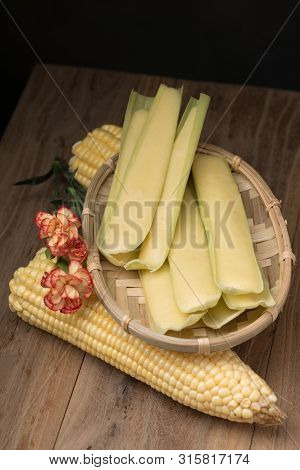 Steamed Fresh Corn Bun In A Bamboo Basket
