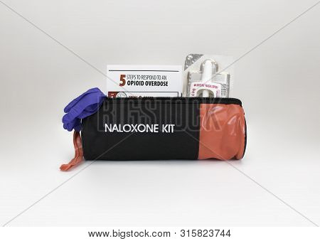 Tillsonburg, On / Canada - July 1 2019 New Naloxone Nasal Delivery Method Of Narcan Distributed By H