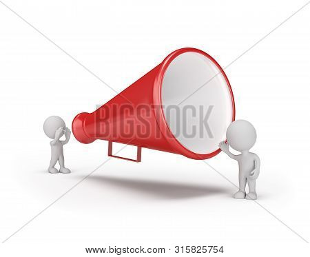 3d Man Speaks Into A Big Loudspeaker. 3d Image. Isolated White Background.