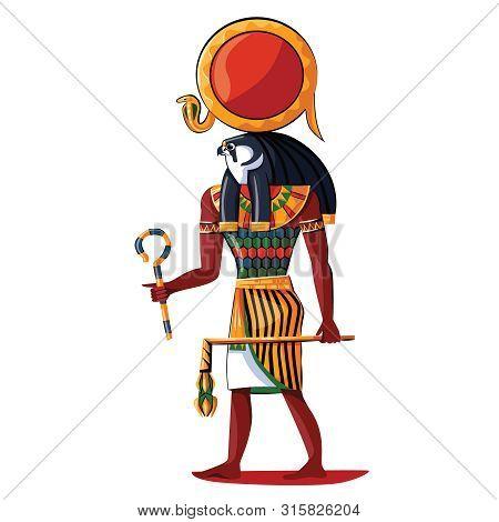 Ancient Egypt Sun God Ra Cartoon Vector Isolated On White Background. Egyptian Culture Religious Sym