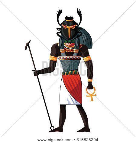 Ancient Egypt Scarab-faced God Khepri Cartoon Vector. Egyptian Culture Religious Symbols, Rising Or