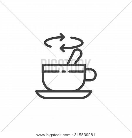 Tea Stirring With Spoon Line Icon. Linear Style Sign For Mobile Concept And Web Design. Cup Of Tea W