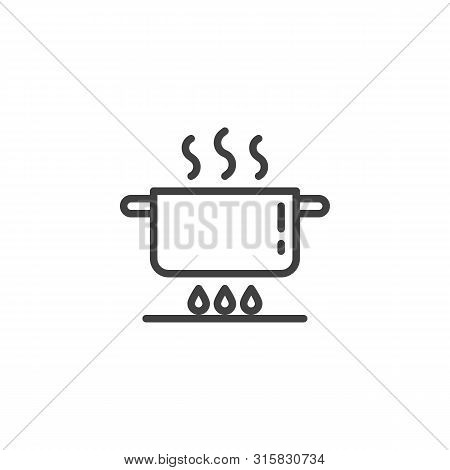 Pan On Gas Stove Line Icon. Cooking Instruction Linear Style Sign For Mobile Concept And Web Design.