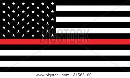 Usa Flag With Thin A Red Line - A Sign To Honor And Respect American Firefighters.