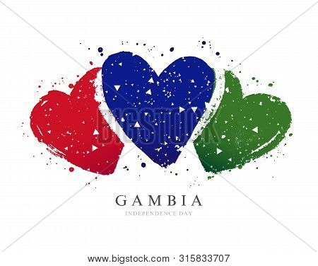 Gambian Flag In The Form Of Three Hearts. Vector Illustration On A White Background. Brush Strokes A