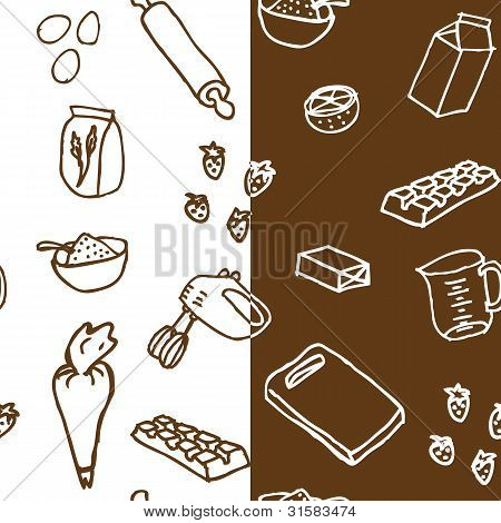 Cake ingredients seamless pattern