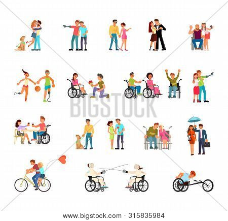 Disabled People Isolated On White Background Vector Big Set. Invalids Using Wheelchair, Runner Blade