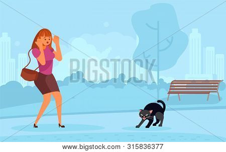 Young Woman Characters Scared Of Black Cat In The Park. Girl Believe In Bad Omen. Flat Art Vector Il