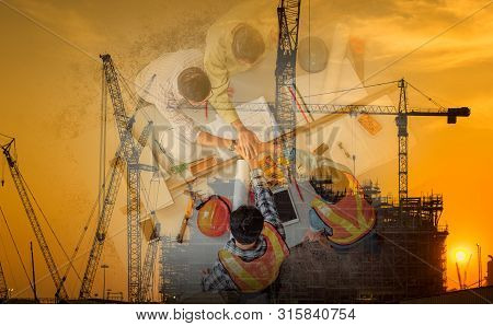 Double Exposure Business Construction Industry And Engineering Concept, Businesspeople Are Handshake