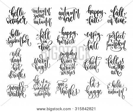 Set Of 20 Autumn Quotes, Hand Lettering Inscription Text, Fall Calligraphy Collection
