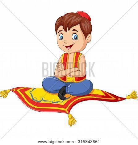 Vector Illustration Of Cartoon Aladdin Travelling On Flying Carpet