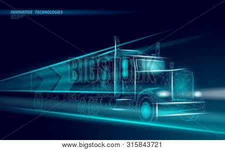 Low Poly Transport Abstract Truck. Lorry Van Fast Delivery Shipping Logistic. Polygonal Dark Blue Sp